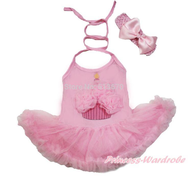 Розовый торт ко дню рождения Halterneck боди розовый юбка девочка платье с и повязка на голову NB-2Year MAJS0120