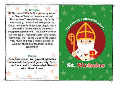 Saint Nicholas prayer card for kids