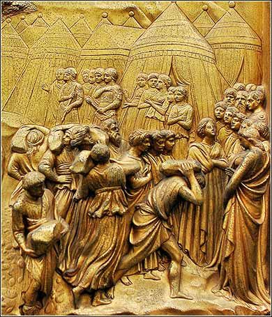 "Detail from ""The Fall of Jericho"", a panel in the famous doors of the Baptistry of San Giovanni by Lorenzo Ghiberti, Florence, Italy, ca. 1410. It captures the nature of the early Hebrews as a traveling armed force."