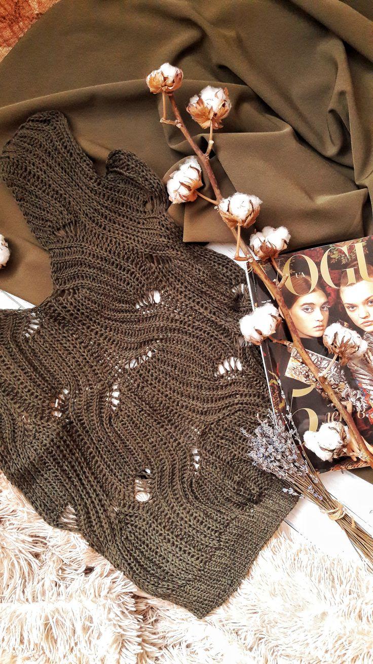 knitting process khaki sweater or women