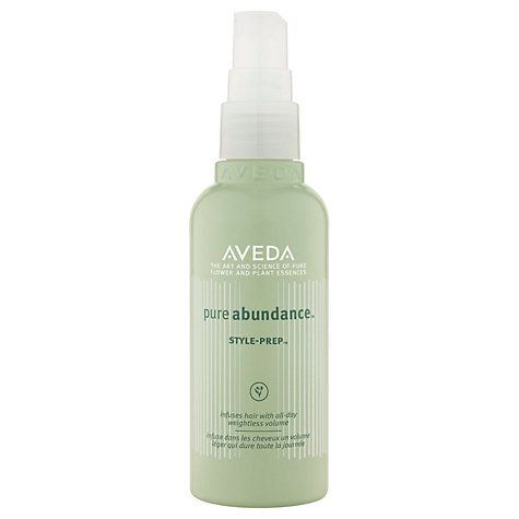 Aveda Pure Abundance Style Prep  Really really works!  Makes my hair look thicker and more voluminous...no residue or stickiness.