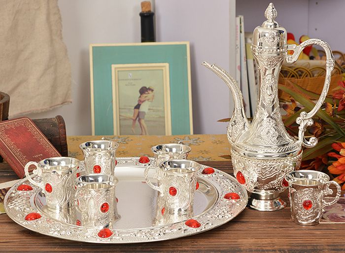 Vintage Set of 8 Pieces Silvery Metal Tableware Wine Set Tea Set Tray Cups with a Pot Engraved Serving Gift Alloy Free Shipping