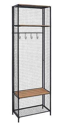 Bayden Hill AHW805AS1 Grid Metal And Wood Locker Coat Rack