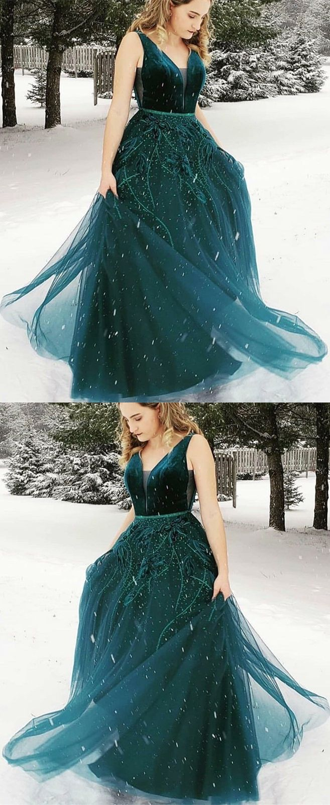 bd4a031844d A-Line V-neck Floor-Length Dark Green Prom Dress with Appliques in ...