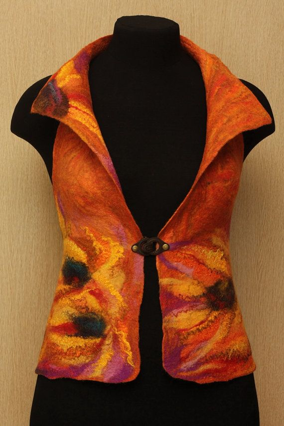 A place under the sun / Felted Clothing Waistcoat by LybaV on Etsy, $160.00