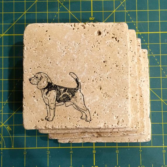 Good Gifts For Dog Lovers Part - 50: Set Of 4 Stone Beagle Dog Coasters; Great Gift Idea, Perfect For Any Dog