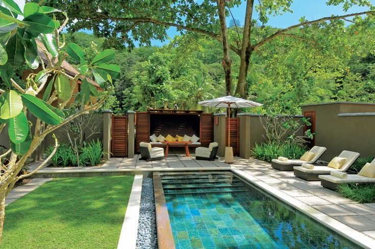 Love this modern tropical pool
