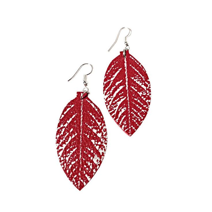 Recycled Leather Red Rose Leaf Earrings