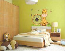 Promozione continuare rimovibile 3d diy sveglio giallo giraffa del fumetto orologio da parete top-qualità della decalcomania orologio reale per babyhome decorare(China (Mainland))