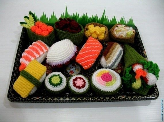 Crochet Pattern  SUSHI  play food / toys by skymagenta on Etsy, $5.99