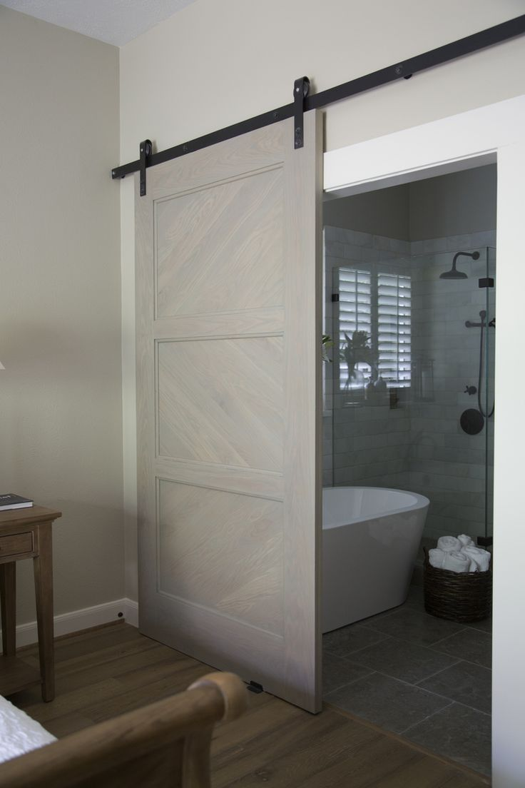 Master bathroom remodel, barn door, shower, free standing bath tub | Interior design -er: Carla Aston - Photographer: Tori Aston http://ToriAston.com
