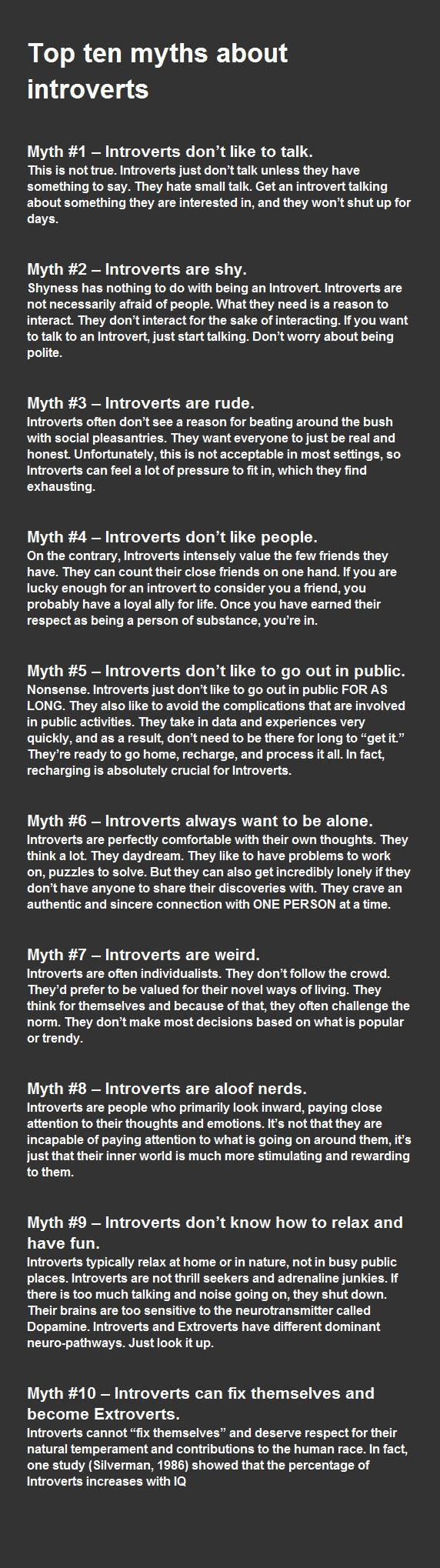 You know, I didn't consider myself an introvert because I thought those things were true about one, but I perfectly fit the descriptions underneath.
