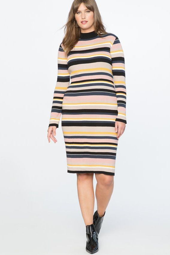 7f2583309e8 Plus Size Striped Sweater Dress - A classic stripe is taken to the next  level with this chich ribbed knit striped sweater dress in all plus sizes.