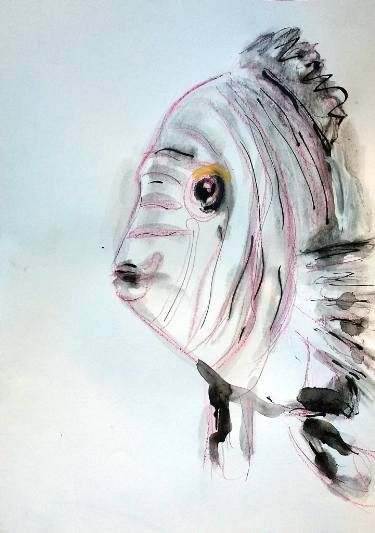 Fish. I think any interior expression can come out in the representation of an animal or person's face, the expressions are endless and I just allow it to happen.