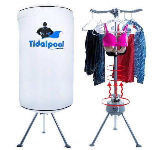 2. Electric Portable Clothes Dryer - Laundry Drying Rack with High Powered 1200W Heater and Germ Killing UV Light Sanitation - Compact with 22Lb Capacity - Tidalpool