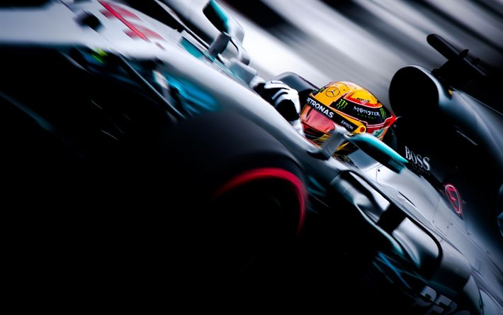 Download wallpapers Formula 1, Lewis Hamilton, Mercedes W08, Mercedes AMG, Petronas F1 Team, British Grand Prix, Silverstone