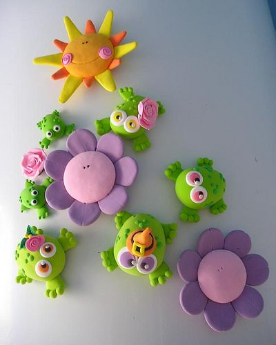 Magnets frogs, flowers, & sun #polymer