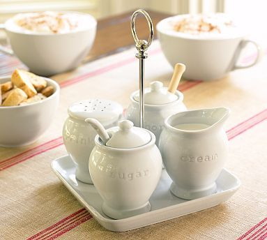 Great White Coffee Condiment Set #potterybarn - this would go perfectly with our new French press and Kuerig!