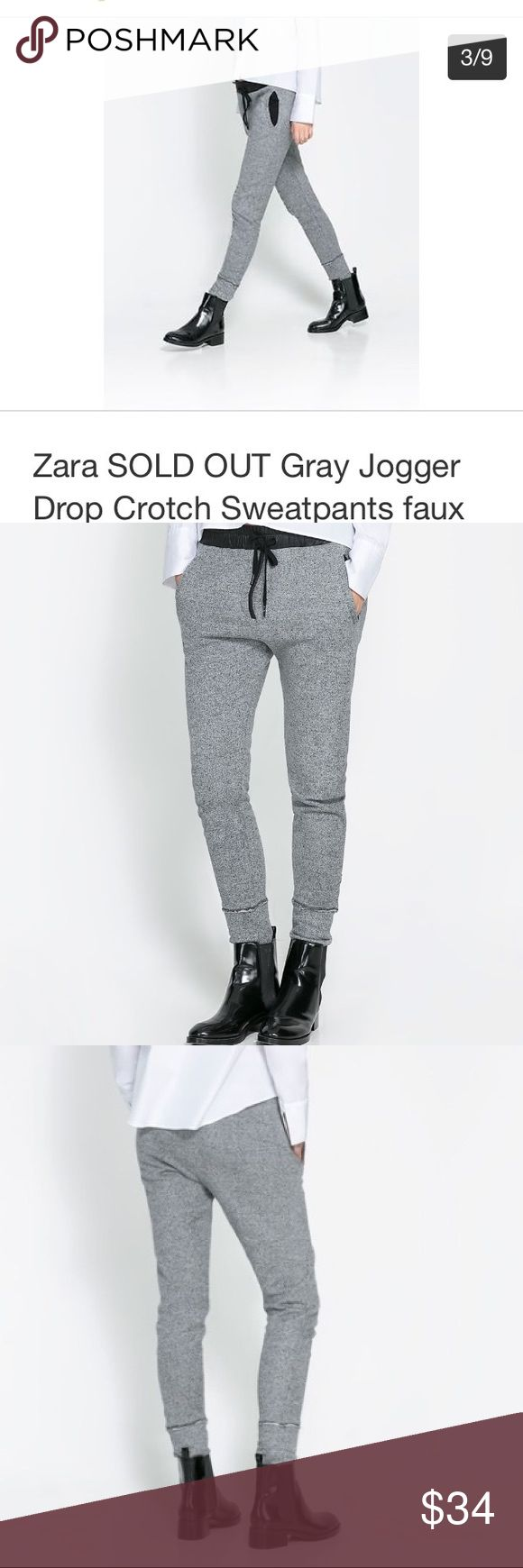 """ZARA gray joggers w/ faux leather waistband Chic Zara gray drop crotch joggers / skinny sweatpants. Black faux leather drawstring stretch waistband & trim detail on non-functional fly. Functional pockets. Super cute with heels, boots as pictured & of course, sneakers.Great condition, gently loved, no stains or tears.                                 Measurements taken with item laying flat & are approximate                  •Waist• 15"""" stretching to 19"""" (adjustable to smaller with…"""