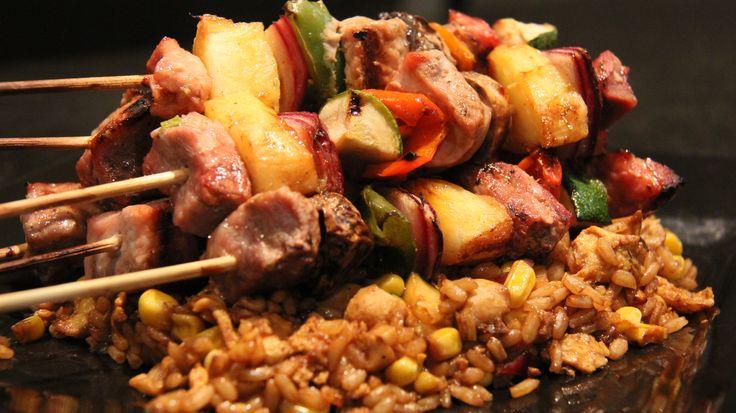 BBQ Pork Skewers on Rice