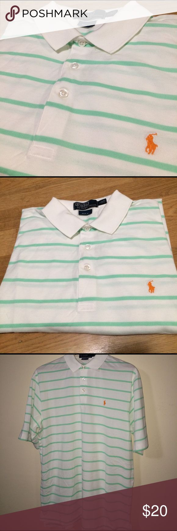 Polo Ralph Lauren Men's polo shirt. Like brand new In excellent, like brand new condition. White with a mint green stripe and orange Polo logo stitched on chest! Very unique Polo shirt.Golf fit. 100% Pima cotton. Polo by Ralph Lauren Shirts Polos