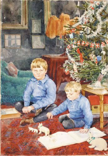 Painting of Thikon and Gouri, the sons of Grand Duchess Olga Alexandrovna, by their mother