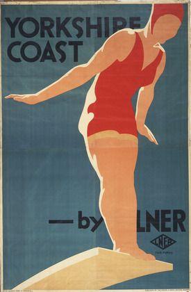 Vintage travel beach poster by Tom Purvis. Yorkshire Coast, LNER. c. 1929 Art Deco #beach #essenzadiriviera www.varaldocosmetica.it/en