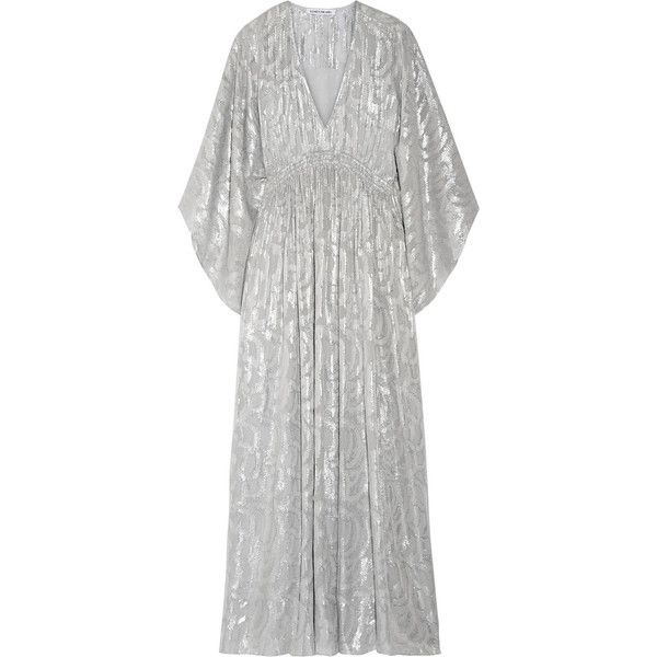 Elizabeth and James Raquel metallic fil coupé silk-blend maxi dress ($725) ❤ liked on Polyvore featuring dresses, gowns, silver, white maxi dress, maxi dresses, evening party dresses, white caftan and white ball gowns