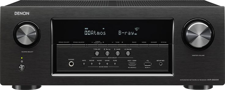 Denon - 1295W 7.2-Ch. 4K Ultra HD and 3D Pass-Through A/V Home Theater Receiver - Black, AVR-S920W