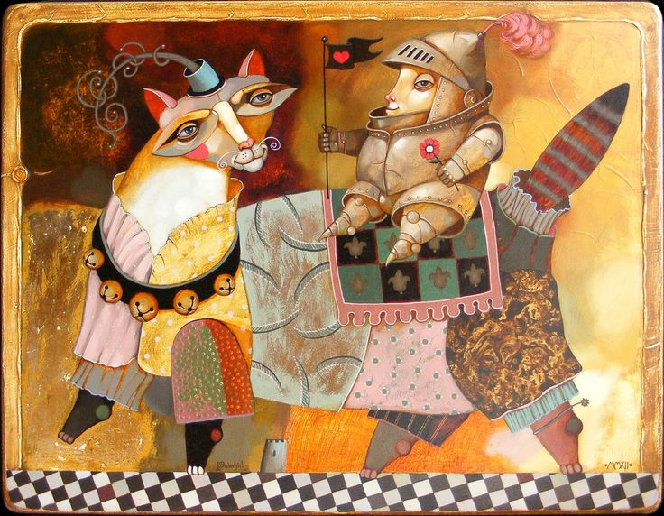«Cat And Knight», 2012, oil on wooden panel, 56x72 cm