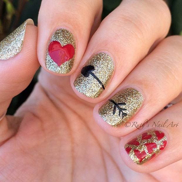 Red and Gold Glitter Valentine's Day Nails
