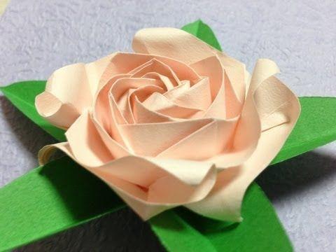 達人折りのバラの折り紙 06 Only one origami rose 06 - YouTube