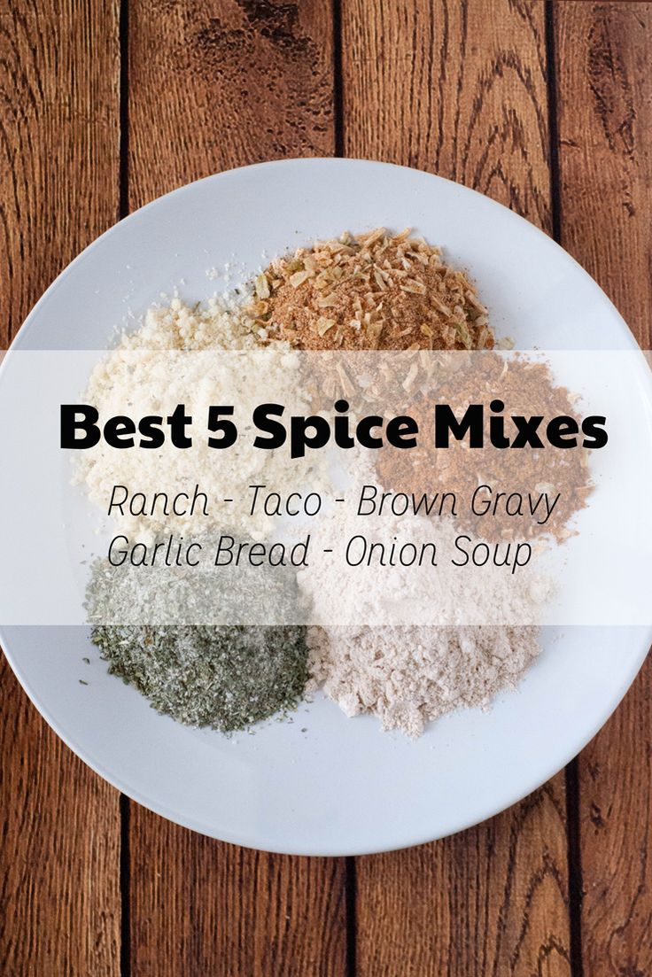 Recipes for homemade taco, ranch, brown gravy, garlic bread, and onion soup mix. Never buy a packet again!