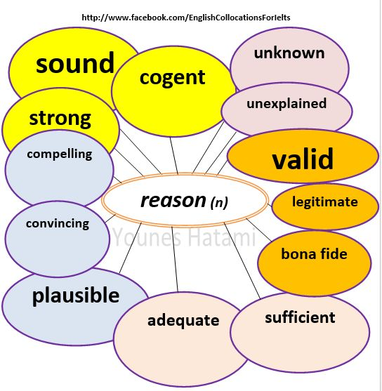 Collocations with the word 'reason'.