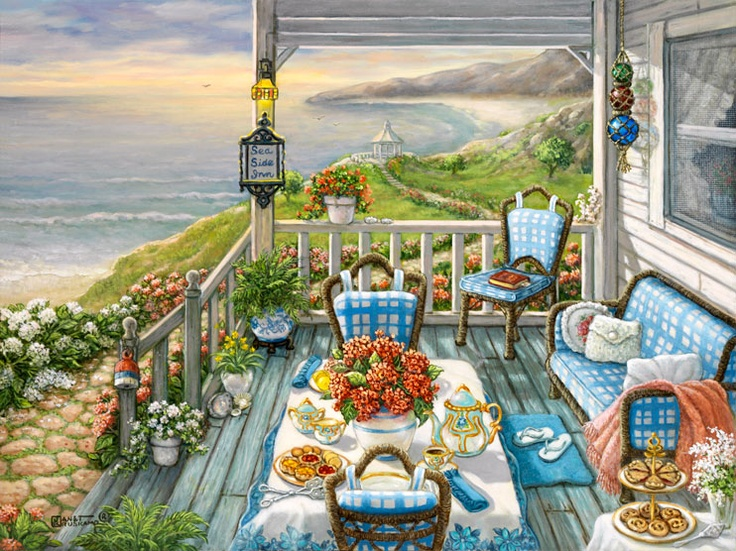 Sea Side Inn, another giclee from Janet Kruskamp. This painting shows the wooden porch of the Sea Side Inn, all set for for an early morning breakfast. A bright red vase of flowers sits in the middle of the crisp white with country blue flowered border tablecloth, with an ornamented coffee pot on one side, and the matching cream and sugar service on the other. Goodies are set on the main and side table, waiting for the hungry guests to arrive.