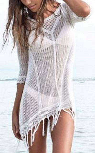 Love Love LOVE this Beach Coverup! Sexy White Scoop Neck Openwork Fringed Cover Up For Women #Sexy #White #Fringe #Beach #CoverUp #Summer #Fashion #Ideas