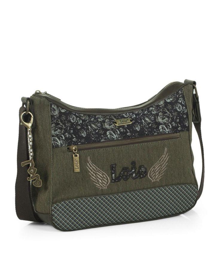 #bolso bandolera con tira regulable en verdes de la marca #Lois
