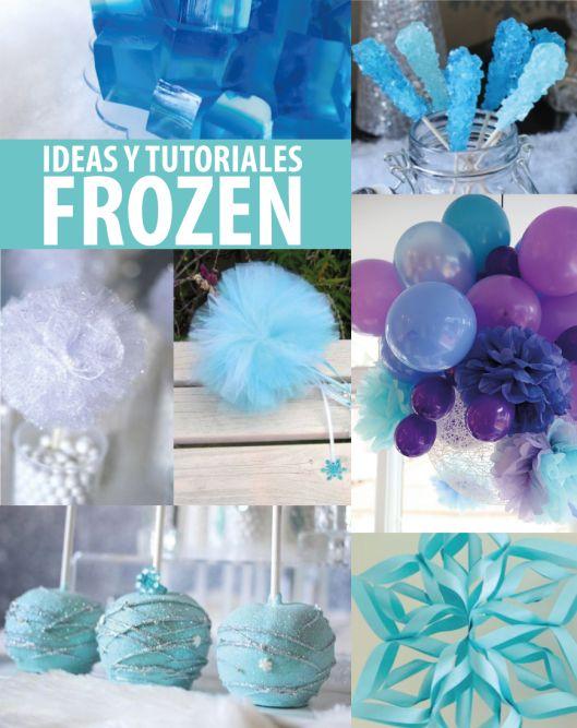 Ideas y tutoriales para una fiesta Frozen espectacular. Pompones de papel de seda, pompones de tul, cake pops, candy rocks y mucho más...