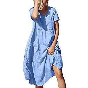 Leinenkleider Damen Sommer Dasongff Oversize Strandkleid Rundhals Kleid Maxikleider T-Shirt-Kleid Swing-Kleid Skaterkleid Plissierter Einfarbig A-Lini…