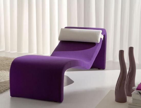 modern polyurethene chaise longue in purple color