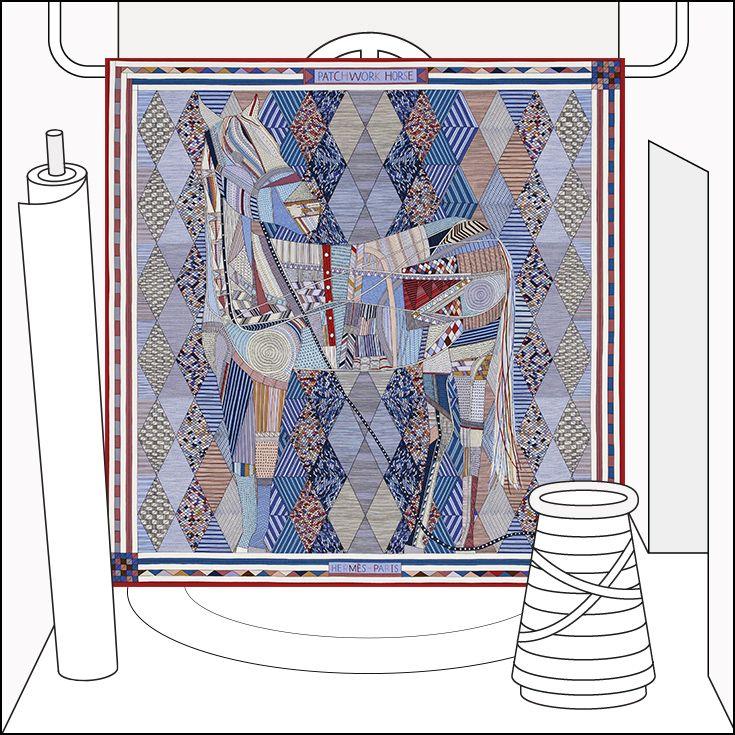 Patchwork Horse silk scarf - 140x140. La Maison des Carrés, the new address for #HermesSilk #lamaisondescarres #hermesLMDC #hermes