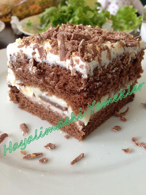 Muhallebili ıslak kek pastası