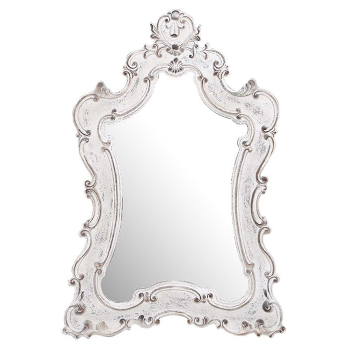 my bedroom baroque style wall mirror with an antiqued white frame product wall mirror construction material resin and mirrored glasscolor antiqued - Mirror With White Frame