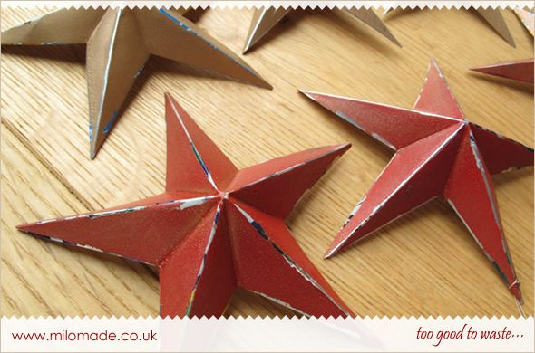 Festive Stars made from Soda Cans - A Tutorial from Milomade.  They suggest these for a Christmas tree, however I think they would look good anywhere with an Americana or Primitive look.