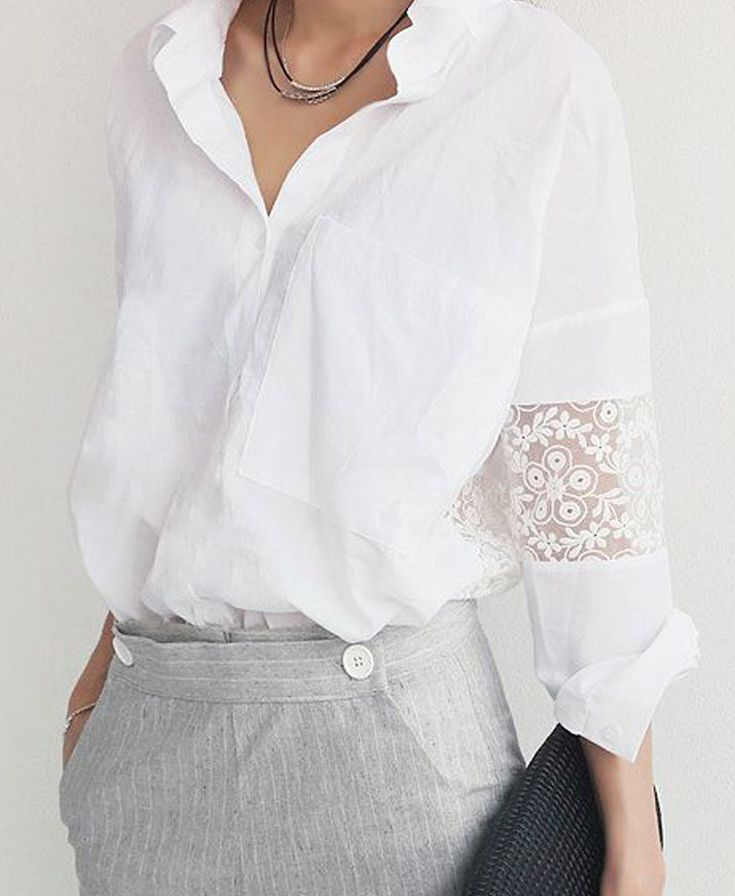White shirt with lace insert // Choies