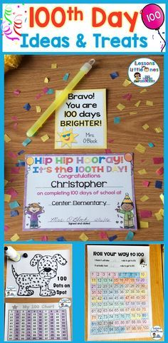 100th Day of School Activities & Treat / Snack Ideas - make your 100 Days in School celebration fun and memorable with personalized treats, awards, crafts, activities that use free apps, games, & more. https://lessons4littleones.com/2017/01/10/100th-day-o