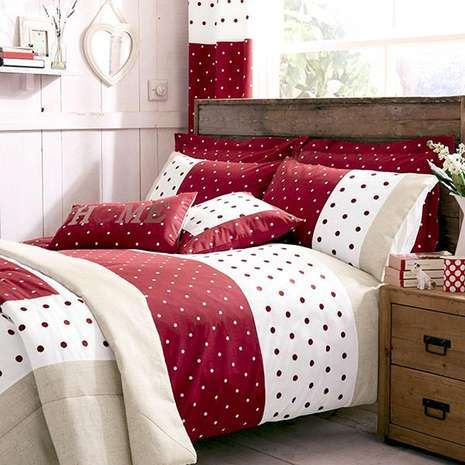 Red Country Spot Bed Linen Collection | Dunelm