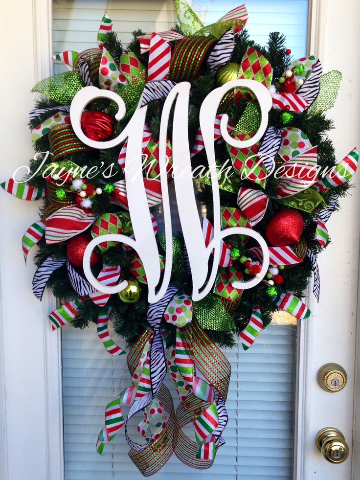 Christmas wreath with large single vine monogram letter for Alphabet christmas wreath