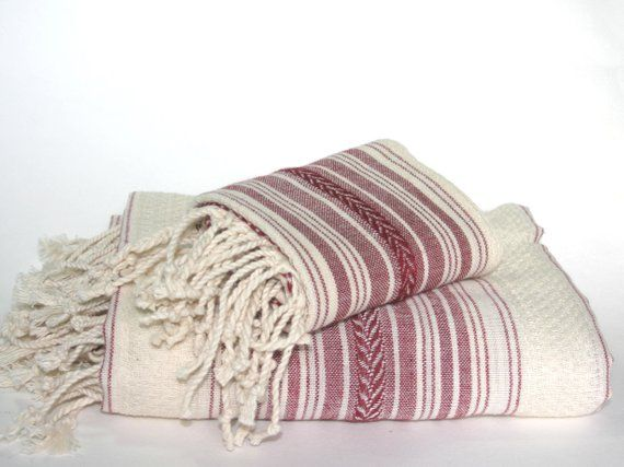 Peshtemal And Peshkir Set Turkish Towels Dark Red Ecru Towel