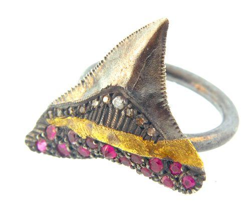 ruby and diamond shark's tooth ring designed by Atelier Minyon via Simone LeBlanc
